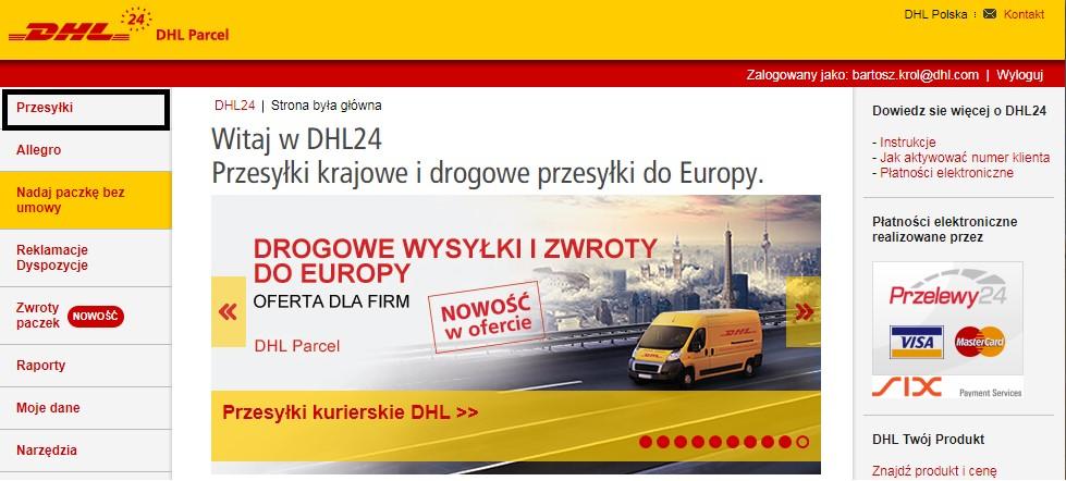 """6102698bcb0bd1 Aby nadać przesyłkę, po zalogowaniu się do aplikacji DHL24, należy wybrać  opcję """"Przesyłki"""" na głównym panelu (ekran poniżej):"""